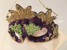 Mardi Gras Ornament (#2) Mask Purple Gold Glitter New Orleans Masquerade New