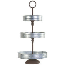 Vintage Galvanized Metal Three Tier Serving Tray Stand for Appetizers, Cupcakes