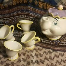 Vintage Disney's Beauty and the Beast China Tea Set with Mrs. Potts and Chip Nib