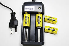 CHARGEUR RS08 + 4 BATTERIE PILE 16340 CR123 2800mAh RECHARGEABLE 3.7V ION ACCU