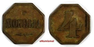 GUATEMALA 1800'S TOKEN Morelia 4 Reales Octagonal 27mm Rulau GMA 252