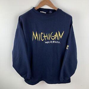Mens Blue Vintage 90s Michigan Wolverines Sweatshirt Size Large USA college