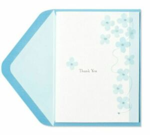 Papyrus Light Blue Flowers  Beautiful Thank You Card with Fabric, Thread & Beads