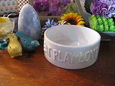 "New Adorable XLarge White Ceramic ""EAT, PLAY, LOVE"" Pet Food Bowl Dish--7  1/4"""