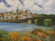 PRINT OF PAINTING RYTA LANDSCAPE HOUSES FLOWERS SPRING ACEO ART RIVER TOWN TOWER