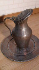 ANTIQUE 17c ISLAMIC TINNED ENGRAIVED SILVERED COPPER  EWER & TRAY HINTING SCENE