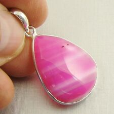 PINK BOTSWANA AGATE Semi-Precious Gemstone 925 Sterling Silver Pendant - D26