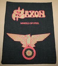 Saxon, wheels of steel, small Printed Backpatch, VINTAGE 70's/80's, RAR, RARE