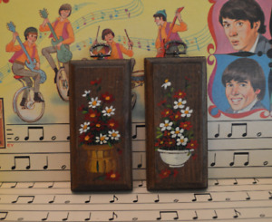 Set of Two Small Wooden Painted Flower Pictures