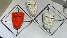 Vintage 50s Comedy Tragedy Ceramic Wall Pockets Wire Frames Mid Century Modern