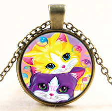 Vintage Cute kitty Cat Photo Cabochon Glass Bronze Chain Pendant Necklace#CJ40