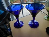 Art Deco Martini Glass Cobalt Blue & Silver SET 2