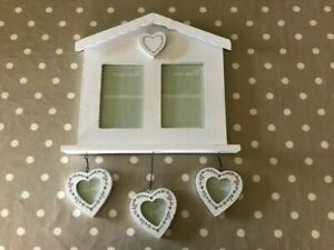 Shabby Chic Style Double Picture Frame with 3 Heart Small Frame