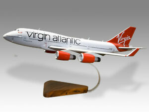 Boeing 747-400 Virgin Atlantic Solid Wood Handcrafted Airplane Desktop Model