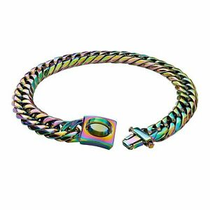 Dog Collar Chain Black Stainless Steel Cuban Large Pitbull Bulldog Pet Necklace