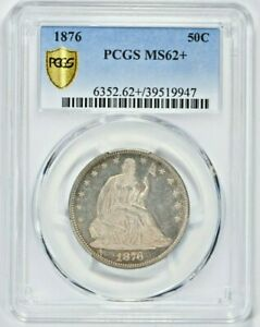 1876 50C Seated Liberty Silver Half Dollar PCGS MS62+ (1030-19) 99c NO RESERVE