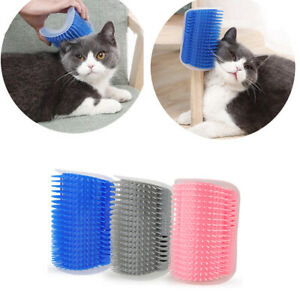 Cat Pet Self Groomer Brush Wall Corner Grooming Massage Hair Removal Comb Toy