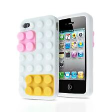 3D BUILDING BLOCKS LEGO BRICK SOFT SILICONE STAND CASE COVER FOR APPLE IPHONE 4S