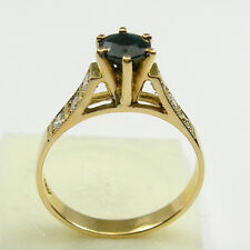 Sapphire Diamonds Solitaire Engagement Dress Ring Genuine 750 18ct Yellow Gold