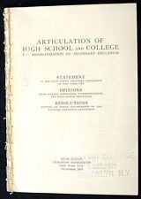 Articulation of High School and College:Reorganization of Secondary Education VG