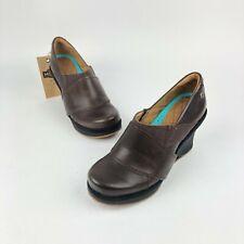 "MOZO ""Divine"" #3731 Brown Leather Wedge Slip-Resistant Comfort Work Heels Size 9"