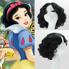 Princess Snow White Wig Short black Wave Cosplay Wigs Costume Synthetic Hair