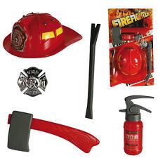 Enfants Unisexe Rouge Fireman Chapeau & Play Kit Enfants Pompiers Casque robe fantaisie fun