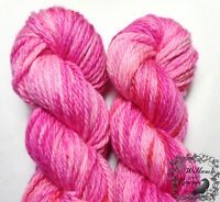 Hand Dyed Yarn Pink PEPPERMINT CRUSH Country Mile Bulky SW Merino Wool 106y
