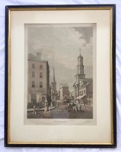 Large Antique WALL STREET IN 1820 Aquatint Engraving Signed by R. VARIN 1929