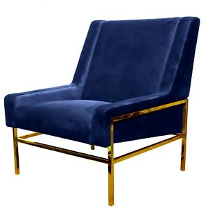 Pair of Modern Occasional Velvet Metal Gold Brass Plated Armchairs Blue or Green