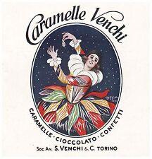 PUBBLICITA'1924 VENCHI CARAMELLE CIOCCOLATO CONFETTI NOUGATINE TORINO CAPPIELLO