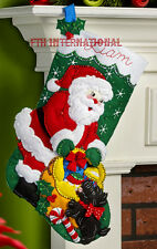 "Bucilla Santa and Scottie Dog ~ 18"" Felt Christmas Stocking Kit #86654 Snowflake"