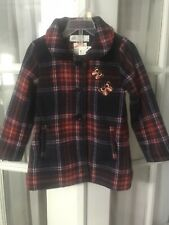 H&M Toddler Girl Red Blue Plaid Wool Blend Dressy Coat Jacket Button Front