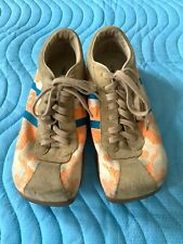 Diesel Evelyn Women's Shoes Orange/White Canvas Blue and Biege Suede Size 9
