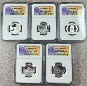 2010-S Silver PROOF ATB Quarters * All NGC PF69 Ultra Cameo * Five (5) Coin Set