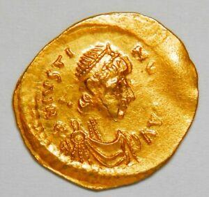 Byzantine Empire Justin I AV tremissis (518-527) gXF (Sear:58) [1.48 grams]