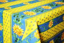 """LE CLUNY, SUNFLOWER BLUE FRENCH PROVENCE COATED COTTON TABLECLOTH, 58"""" SQUARE"""