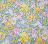Iris Print BTY Robert Kaufman Pink Lavender Yellow Green Floral