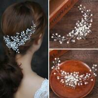 Pure White Crown Pearl Flower Crystal Hair Pins Bridal Side Comb Jewelry Wedding
