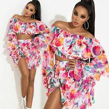 By Alina Mexton Damen 2-Teiler Crop Top Bluse + Minirock Volantrock Floral XS-M
