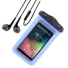 Blue Waterproof Pouch Dry Bag Case For ASUS PadFon 2/ LG G Stylo 5.7''+ Earphone