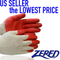 ✔ WHOLESALE 300 Pairs of Zered SAVER RED Latex Rubber Coated Safety Work Gloves✔
