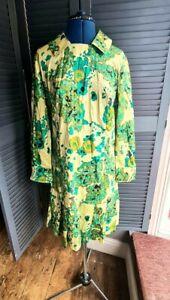 Vintage Dress, Handmade, Silk, Mod, 1960's/1970's, green, Size 12