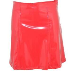 Gonna mini donna in vinile rosso intenso lucido a vita alta chiusura zip e cucit
