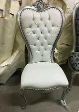 Poltrona sedia stile Barocco in legno massello foglia argento ecopelle bianca