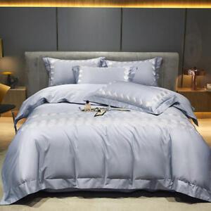 Rose bedding set 4pcs high-end cotton embroidery quilt cover flat sheet set blue
