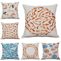 "18"" Carp Print Cotton Linen Pillow Case Waist Cushion Cover Home Sofa Decor New"