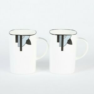 "Pair of Art Deco Bone China Square Mugs in the ""Ritzy"" Grey Design"