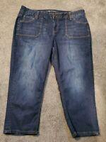 Lane Bryant Deep Pocket Cropped Skinny Jeans Dark Stretch Plus Size 22
