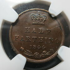 GREAT BRITAIN UK England 1/2 Half farthing 1844 NGC MS 62 BN UNC